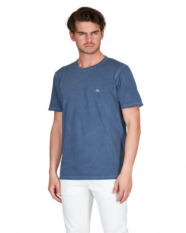 T shirt in cotone blu polvere