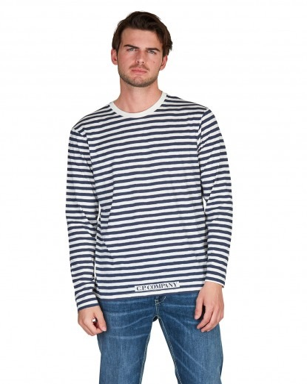 T shirt in jersey di cotone riga  blu e bianca
