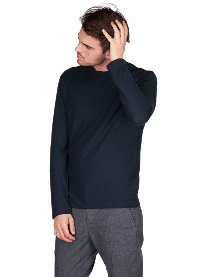 T shirt  manica lunga in Ice cotton navy
