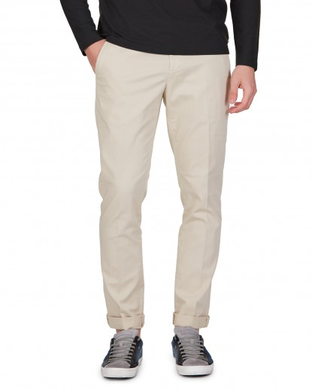 Pantalone Gaubert beige in gabardina di cotone strecht