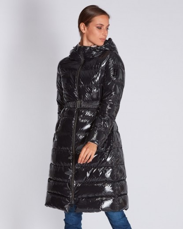 piumino in nylon leggero lucido nero