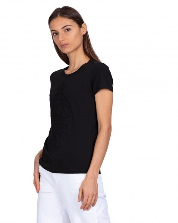 T-Shirt nera ricamata