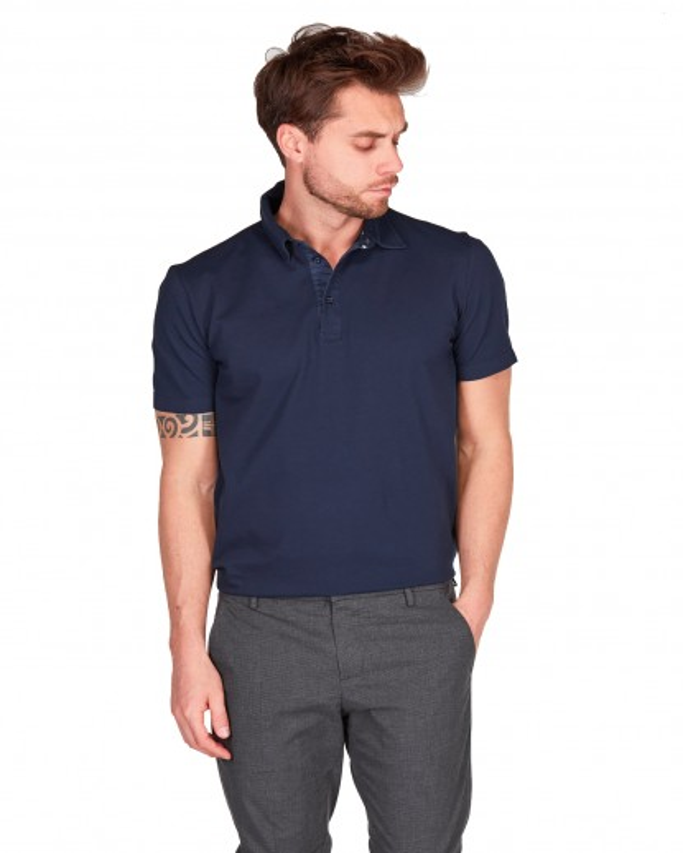 Polo collo camicia piquet di cotone tinto capo old blu