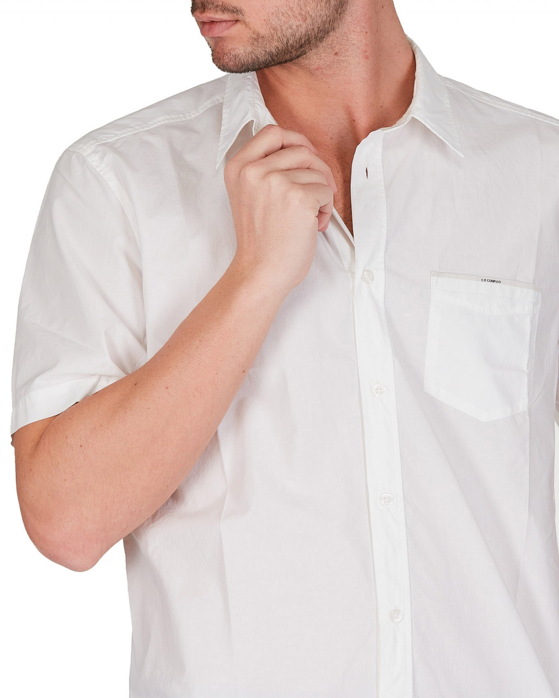 C.P.Company - Camicia a maniche corte bianca in popeline di cotone - E9021 - 10CMSH313A005328G-103