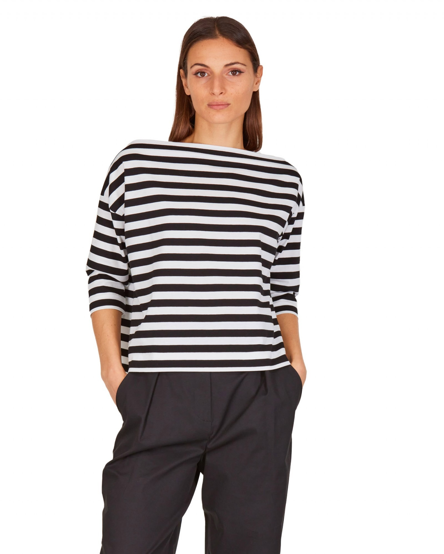 T_S - T-Shirt a righe nera - E9021 - 503-23B