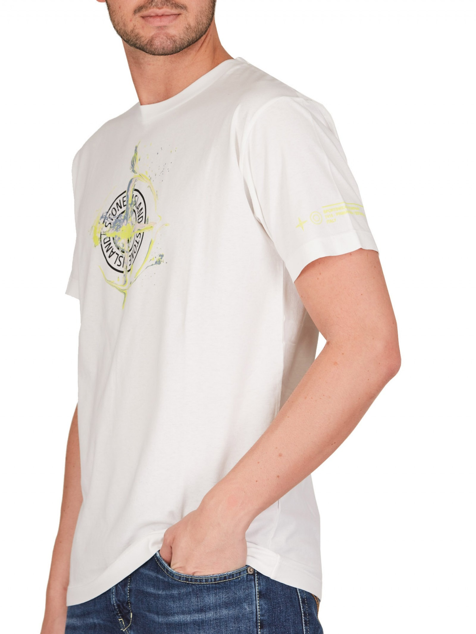 Stone Island - T shirt bianca in jersey con stampa - E9021 - 2NS83-V0001