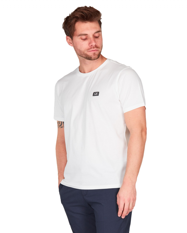 C.P.Company - T shirt bianca  manica corta con Logo piccolo gommato - E9021 - 10CMTS063A005100W-103