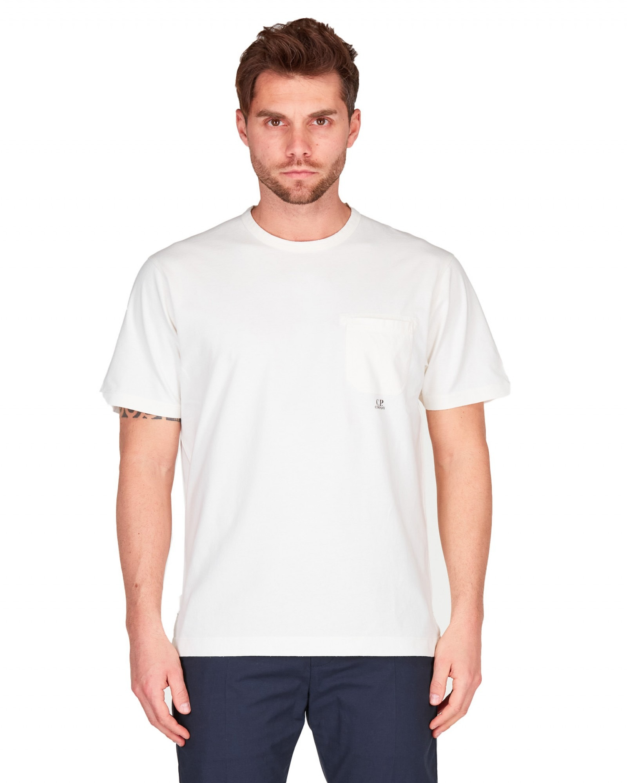 C.P.Company - T shirt manica cortatinto capo bianca con taschino - E9021 - 10CMTS244A006057O-103
