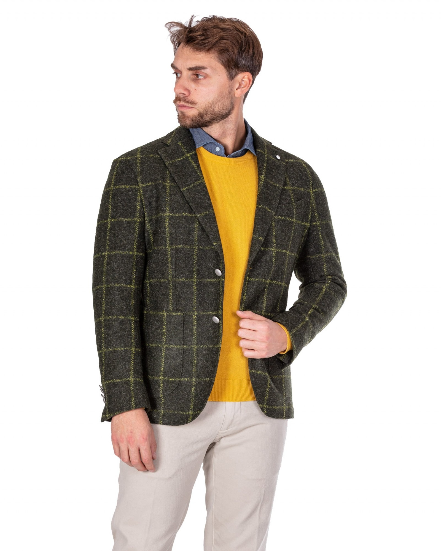 Brando - Giacca in lana lavata fantasia finestrata verde - I8920R - 2817-5217-01