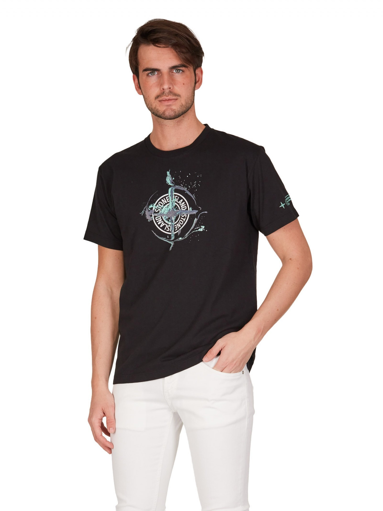 Stone Island - T shirt nera in jersey con stampa - E9021 - 2NS83-V0029