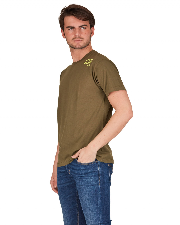 Stone Island - T shirt verde oliva in jersey con stampa logo piccolo su spalla sinistra - E9021 - 2NS56-V0058