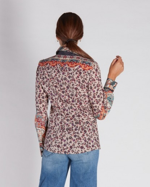 Camicia in popeline di cotone stampa fantasia