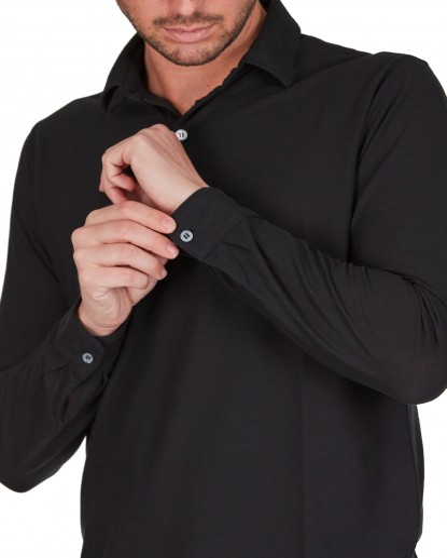 Polo maniche lunghe in cotton nero collo e polsi a camicia