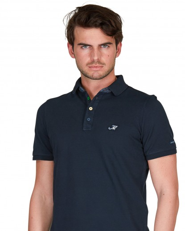 Polo in piquet di cotone blu