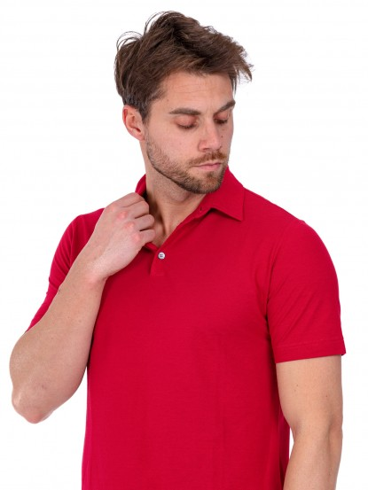 Polo in ice cotton rossa