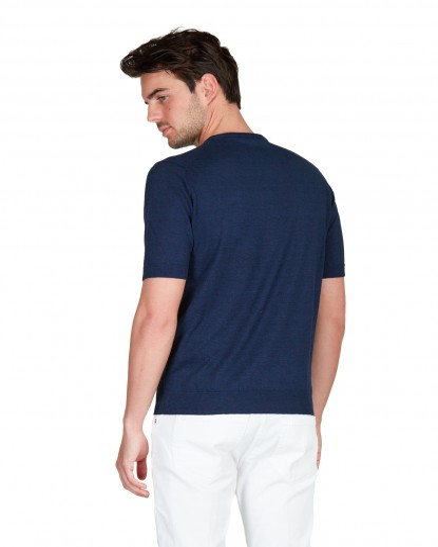 Tshirt in cotone e lino blu